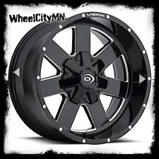 """17 x9"""" gloss black milled Vision ARC 411 wheels rims lifted Ford F150 6x135 +12"""