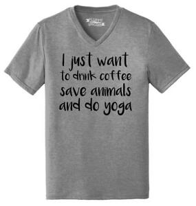 Mens-I-Just-Want-Drink-Coffee-Save-Animals-and-Do-Yoga-Triblend-V-Neck-Workout