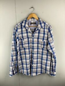 Ben Sherman Men's Long Sleeve Button Up Shirt Size l Blue Check