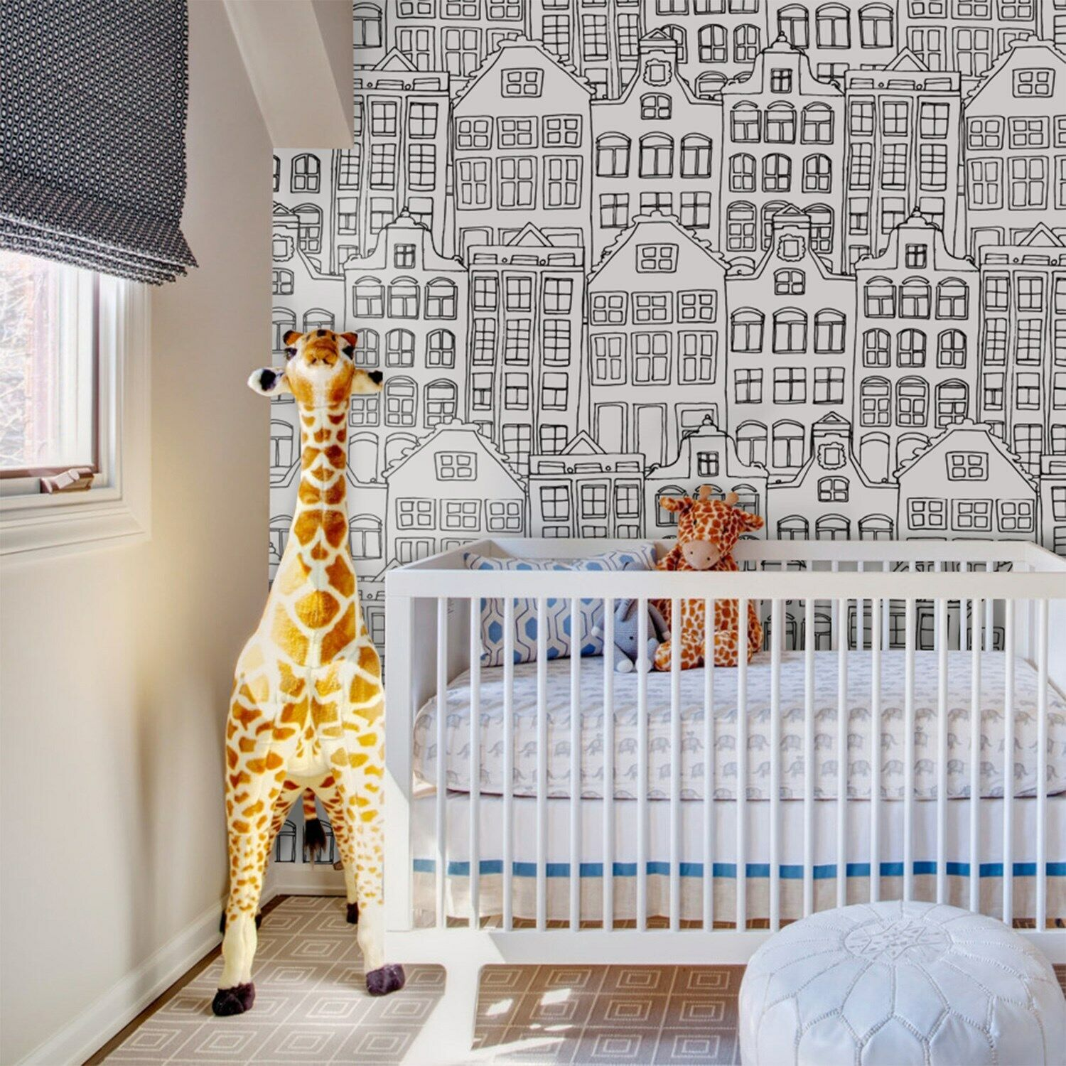 Doodle city Non-Woven wallpaper Funky buildings Navy drawing Minimalist murals