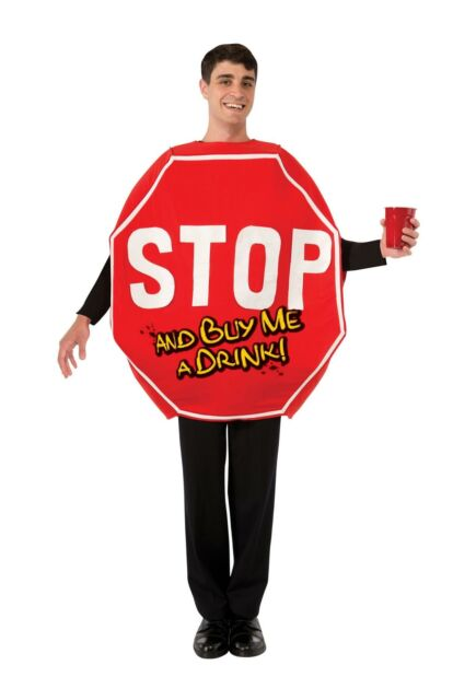 Adult Stop Traffic Sign Costume Mens Funny Stag Do Fancy Dress Outfit Mascot