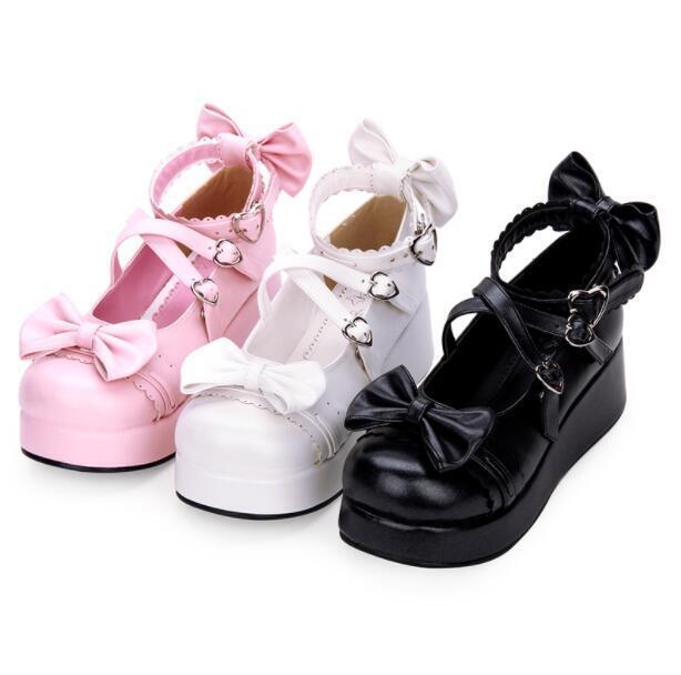 Para Mujer Lindo Lazo Lolita Mary Mary Mary Jane con cinta al tobillo Muffins Cosplay Zapatos De Plataforma 6c40f8