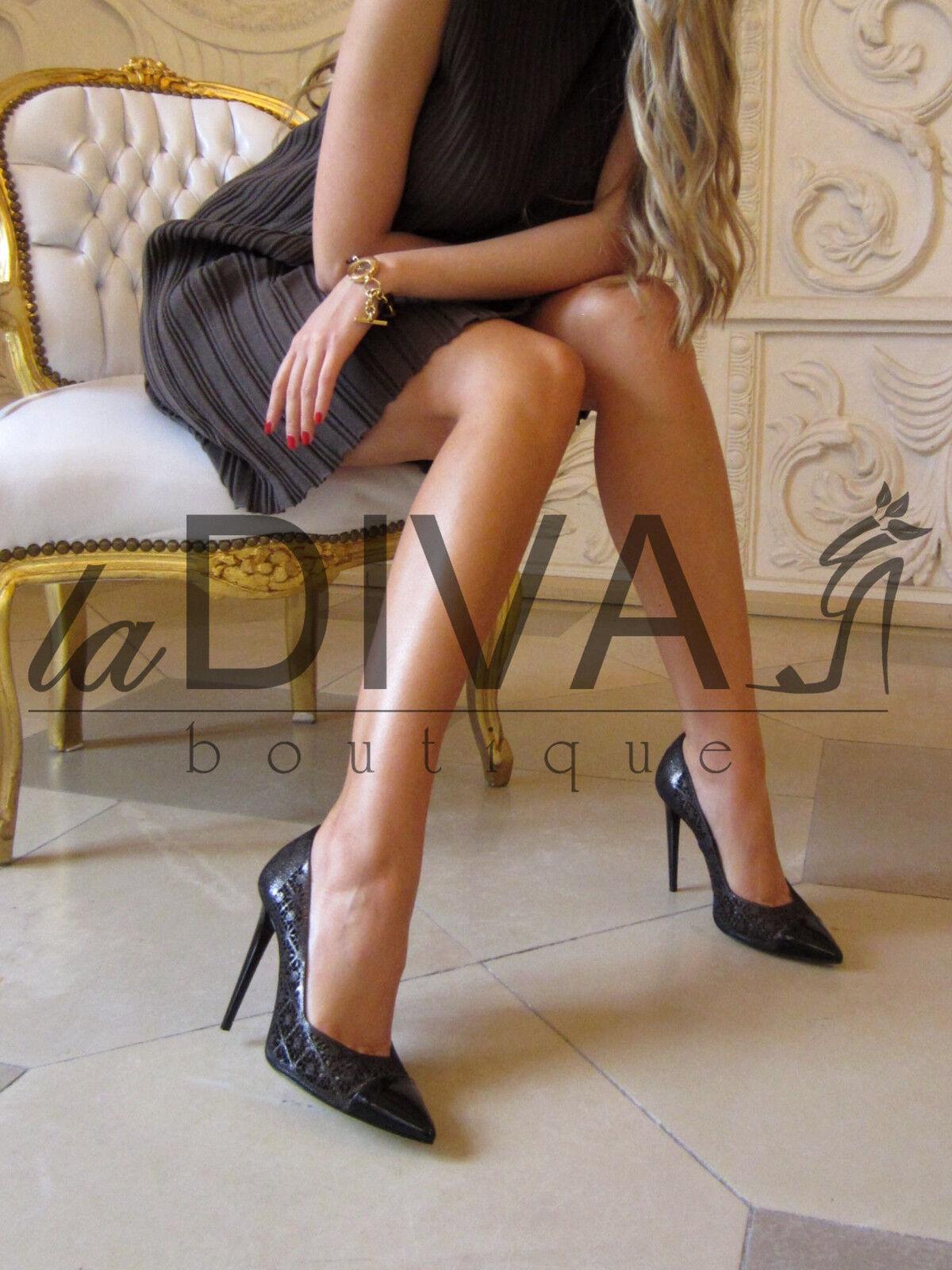 FABI Couture   Pumps Laser Cut Leder Pumps  37 braun Stanz Muster High Heels 6e23e3