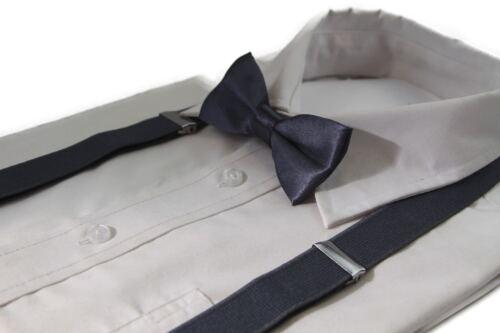 BOYS GUNMETAL MATCHING BOW TIE SUSPENDER SET KIDS UNISEX DRESS UP WEDDING NEW