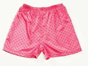 Pink-Red-Polka-Dots-Charmeuse-Button-Fly-Boxer-Shorts-Small-Gyz-by-Shirley-20298