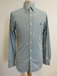 Ralph-Lauren-Polo-para-hombre-E88-Azul-Blanco-Rayas-Calce-Ajustado-Mangas-Largas-Camisa-Uk-S
