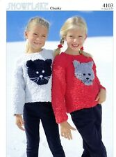 "Sirdar Snowflake Chunky Knitting Pattern 3981 Baby Kid Sweater 3mo-8yrs 18/""-28/"""