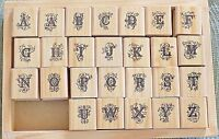 Gorgeous 1 By 1 1/8 Cursive Upper Case Alphabet Mounted Stamps - Missing v