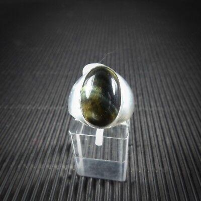 Gelernt Ring Gr. 59, Silber 925, Mit Einem Sterndiopsid Cabochon Aus Indien