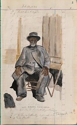 African American Ex Slavery Painting Painted On 1876 Ledger REPRODUCTION