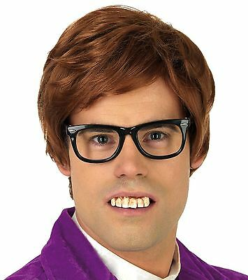 MENS 60s AUSTIN POWERS FANCY DRESS COSTUME 2 PIECE KIT BROWN WIG AND GLASSES SET