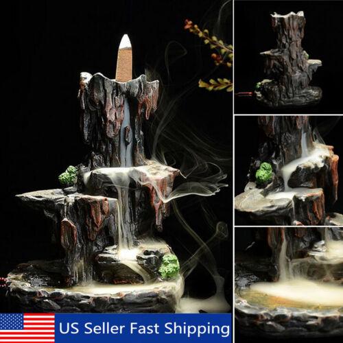 Ceramic Waterfall Mountain Smoke Backflow Incense Burner Holder /& 7 Cones Set