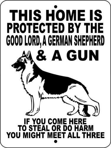 #GLGSGUN GERMAN SHEPHERD DOG SIGN,Guns,Dogs,Security,Aluminum,Guard Sign