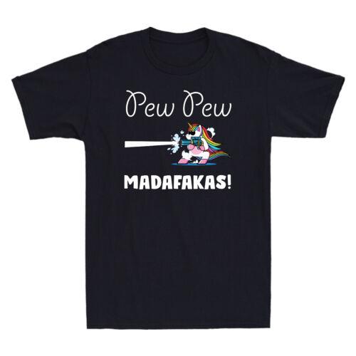 Pew Pew Madafakas Vintage Funny Unicorn Lovers Retro Men/'s T-Shirt Cotton Tee