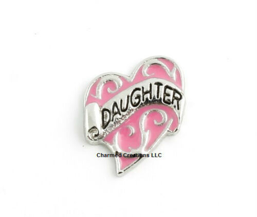 10pc Daughter Heart Love Pink /& Silver Floating Charm For Glass Memory Lockets