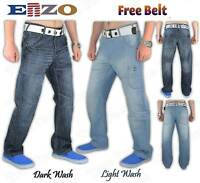 Mens Boys ENZO Designer Regular Fit Straight Leg Denim Jeans W 28-42 Free Belt