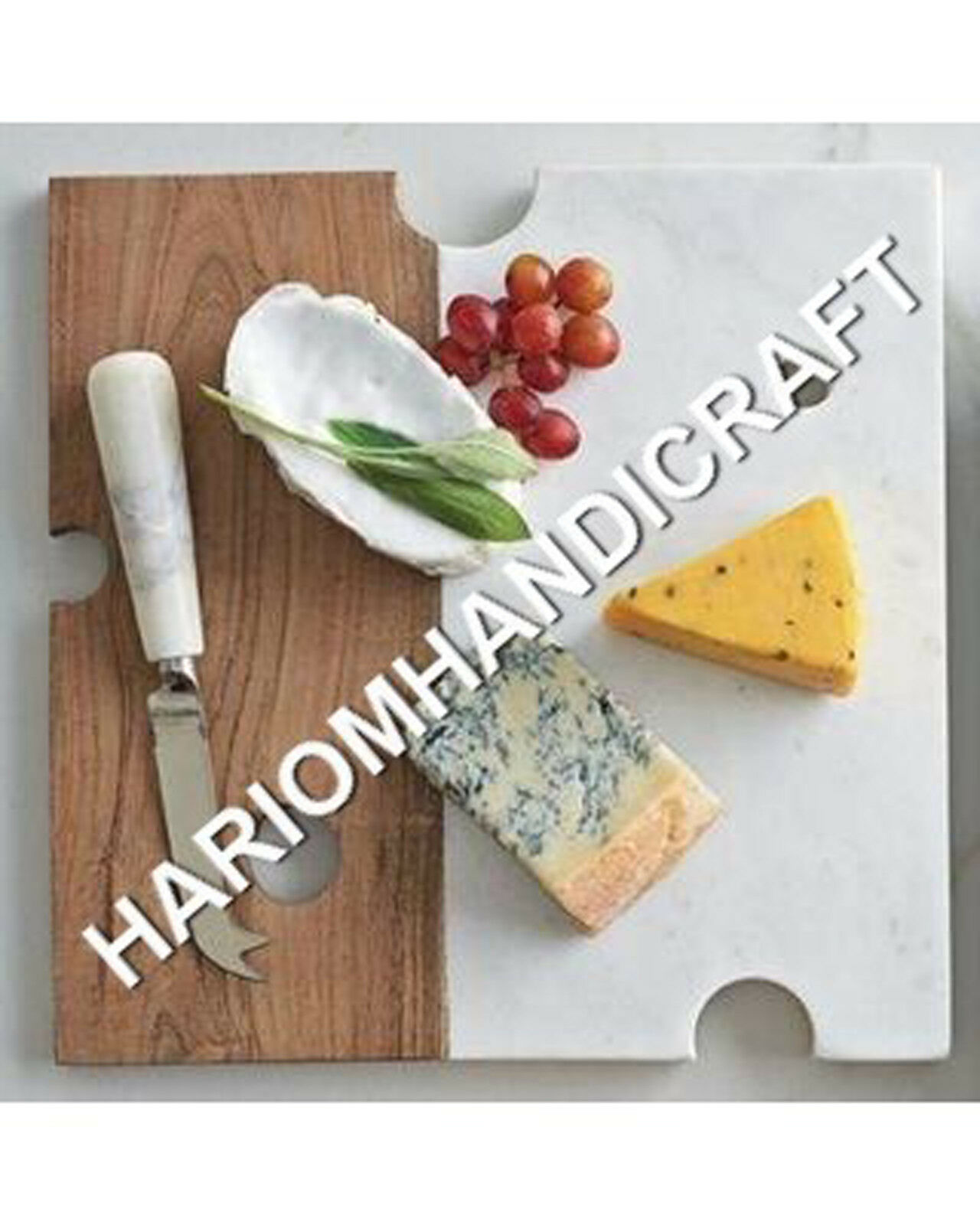 12 x12  Marble And Wood Square Chopping Cheese Board Square Kitchen Decors E687