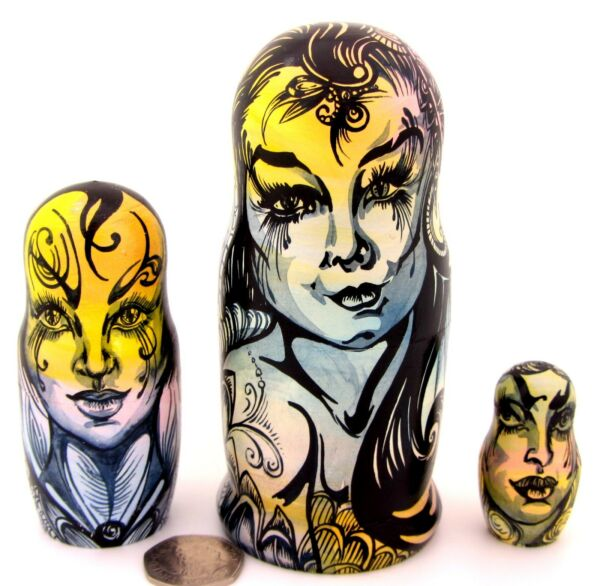 Fairy Girls Matriochka Magic Butterfly Nesting Dolls Authentique Russe 3 Matt Cadeau