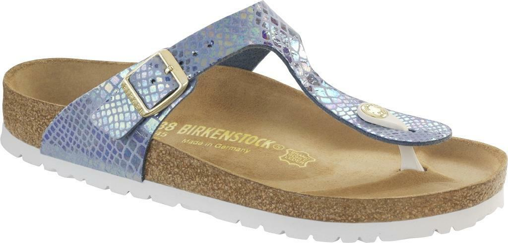 BIRKENSTOCK GIZEH SHINY BLACK SNAKE PINK SKY CREAM BLACK SHINY WOMEN'S THONGS SANDALS 21ea15