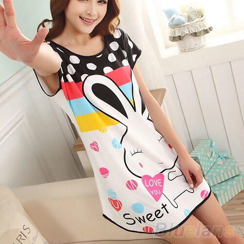 Fashion Lovely Women Cartoon Polka Dot Sleepwear Pajamas Short Sleeve Sleepshirt