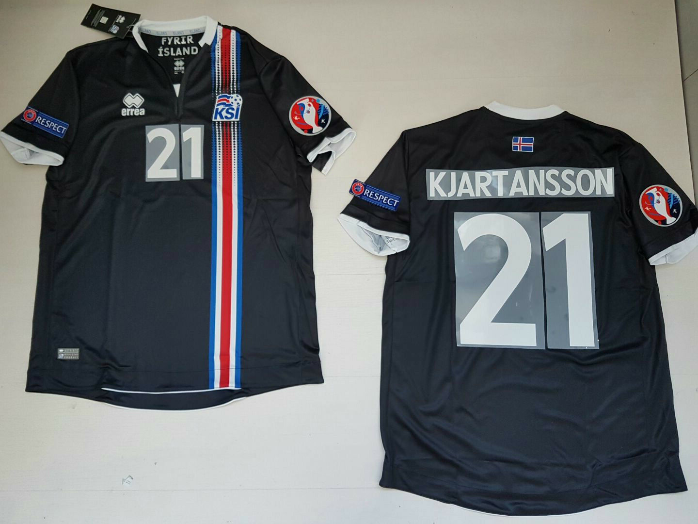 KJARTANSSON ISLANDA ICELAND Ísland  MAGLIETTA JERSEY SHIRT EURO 2016 PATCH B