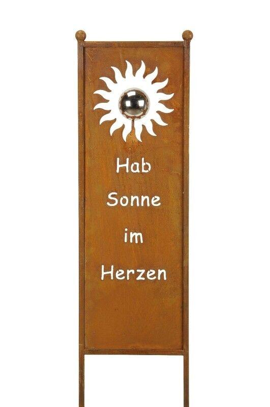 Edelrost Tafel mit Sonne und Spruch zum Stecken 118cm Edelstahlkugel Stele