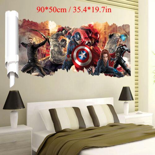 3D Super Hero Vinyl Wall Sticker Art Decal Removable Home DIY Decoration