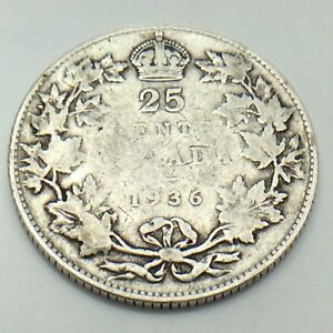 1936-Canada-25-Silver-Twenty-Five-Cents-Quarter-King-George-V-Canadian-Coin-G155