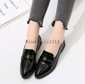 Women-039-s-Pointed-Toe-Patent-Leather-Stylish-Flat-Heels-Casual-Shoes-Slip-On-Size