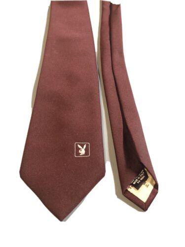 Vintage Playboy Neck Tie Brown Bunny Logo Mens 198