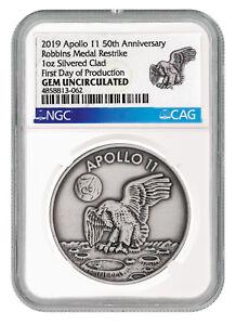 Exploration Missions 1969-2019 Apollo 11 Robbins Medal 1oz Silver-plt Medal Ngc Gem Unc Fdp Sku55230