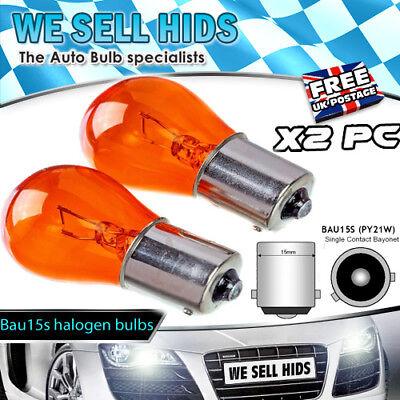 2x BAU15S PY21W 581 Left Right Indicator Turn Signal Light Amber Glass Bulbs