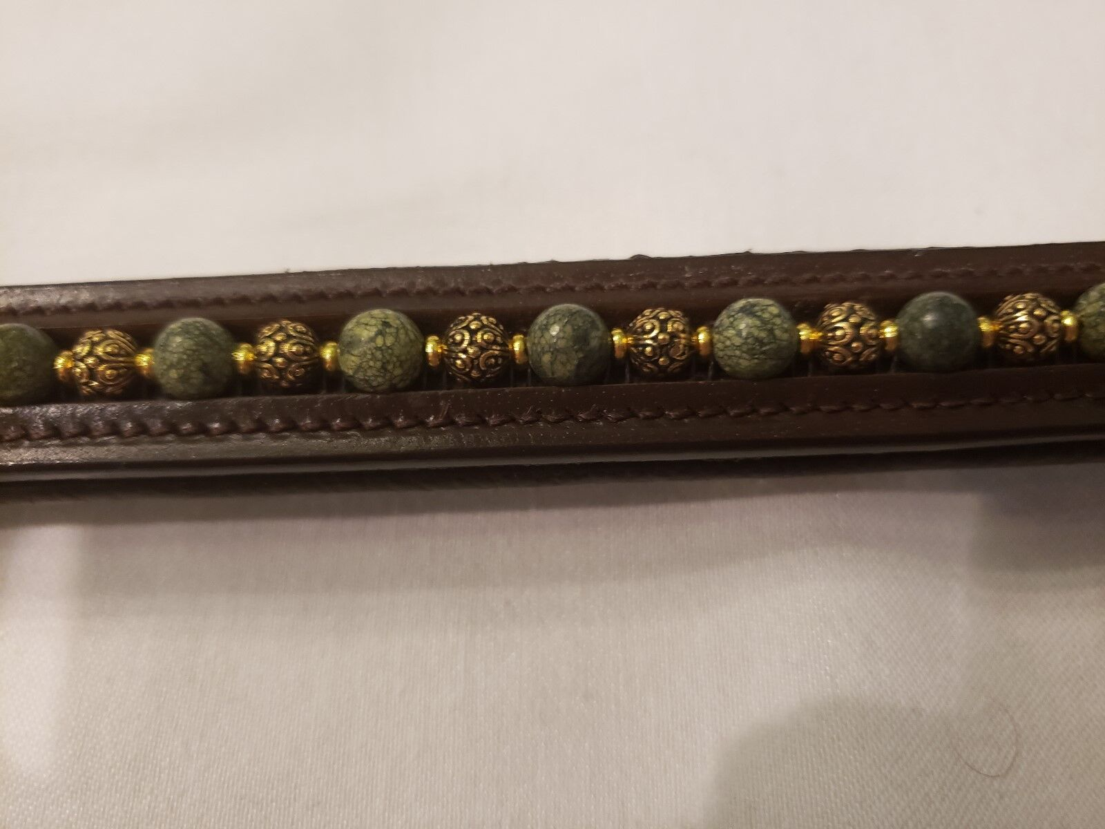17  (Oversize) Brown Browband w Green Edge Stone and Casbah Antique gold Beads