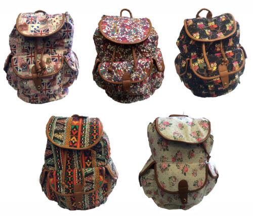Ladies Womens Floral Canvas Rucksack Backpack Shoulder School College Gym Bag
