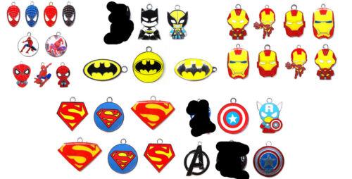 50Pcs Superman Spiderman Iron Man Batman mix Charm Pendant DIY Jewelry Making