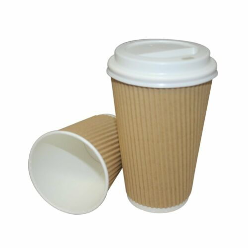 150 x 8oz KRAFT 3-PLY RIPPLE DISPOSABLE PAPER COFFEE CUPS UK MANUFACTURER