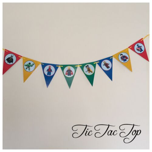 1x Superhero Banner Bunting Flag Party Batman Avengers Lolly Loot Bag Batman
