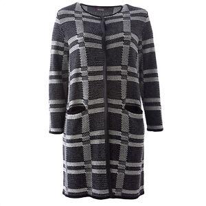 Pour Rinaldi Marina Noir Long Tricot Femmes Blanc Cardigan Maesta xC6w6P