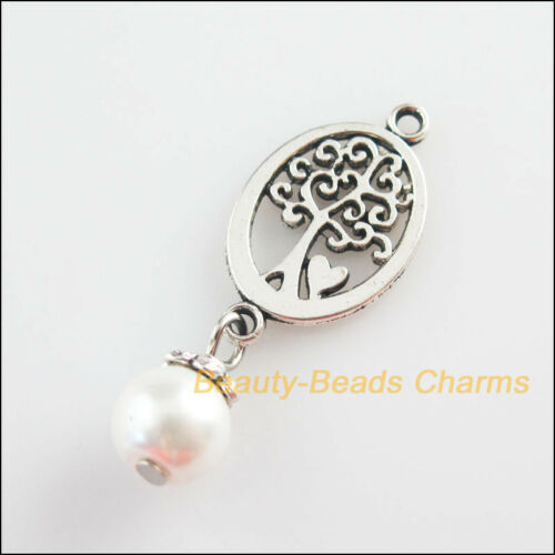 10 New Oval Tree Charms White Glass Round Beads Pendants Tibetan Silver 13x35mm
