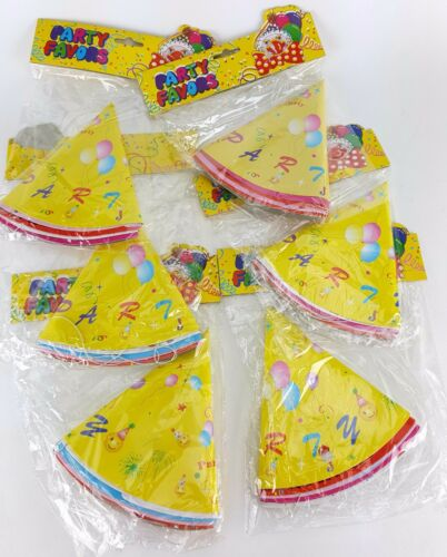 30 BIRTHDAY PARTY HATS ELASTIC CHIN STRAP YELLOW SMILEY FACE PINK RED
