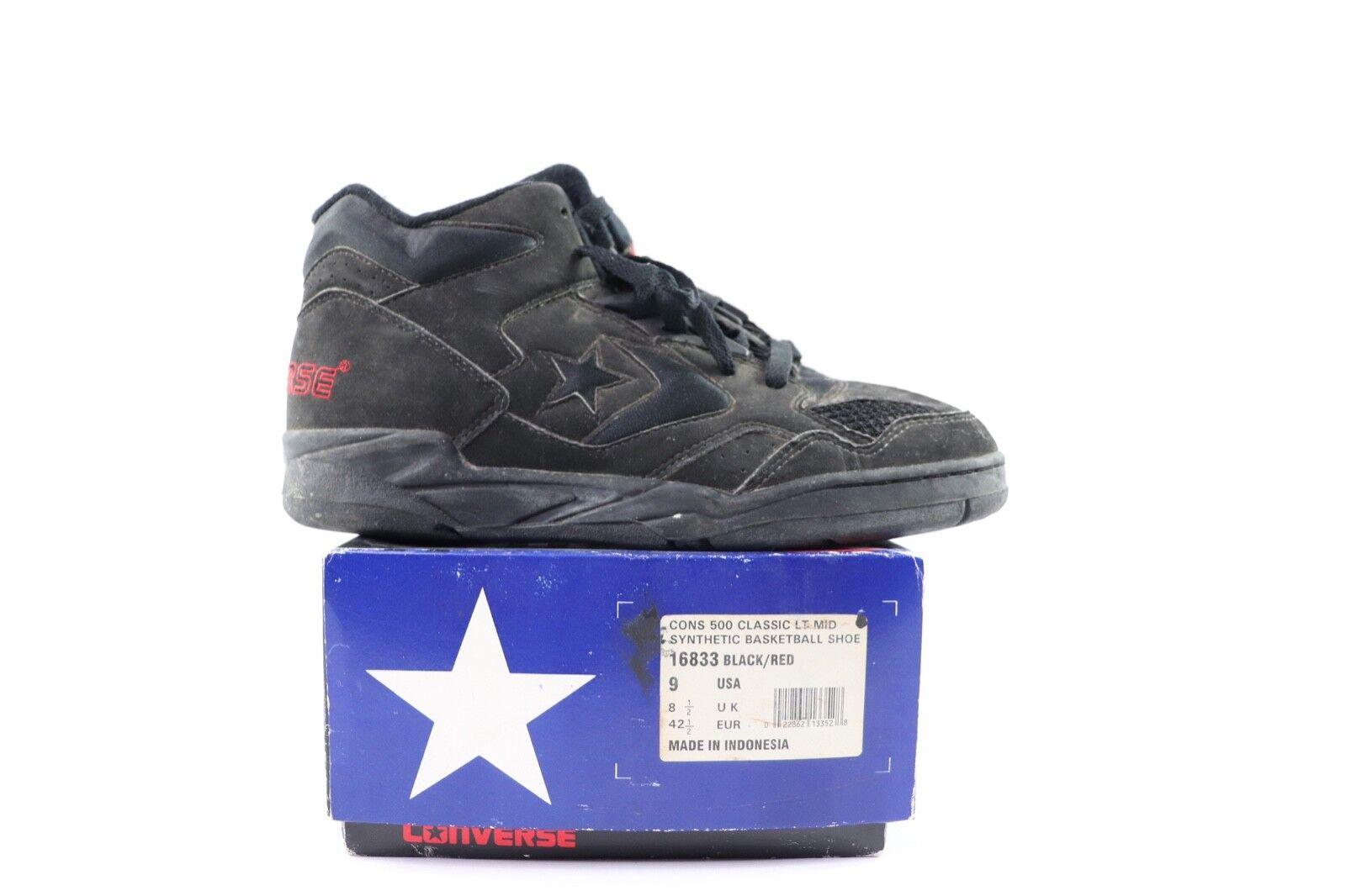Vintage 90s New Converse Mens 9 Cons 500 Classic Classic Classic LT Mid Basketball shoes Black 41315a