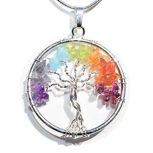 7-Chakra-Tree-of-Life-Perfect-Pendant-BALANCING-ENERGY-REIKI-20-034-Silver-Chain