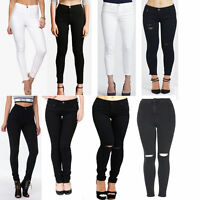 Womens Black White High Low Waist Knee Cut Ripped Denim Jeans Size 6-22
