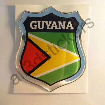 Guyana Flag Decal Car 3D Chrome Emblem Sticker