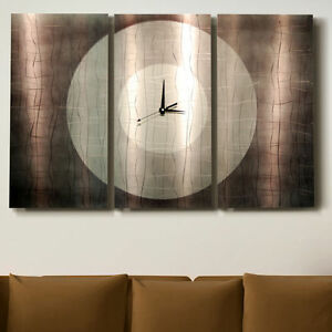 Metal Abstract Modern Large Steel Silver Wall Art Clock Painting ...