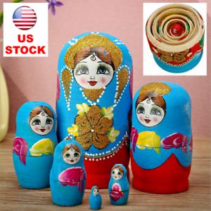 6Pcs Red Hand Painted Nesting Russian Dolls Set Matryoshka Babushka Decor Gift