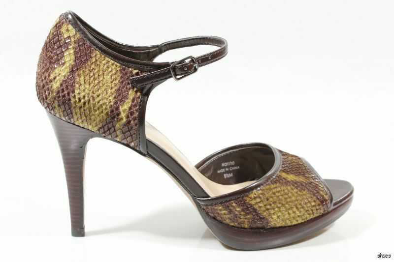 New TAHARI 'Marsha' brown leather and snake open-toe platforms platforms platforms shoes - HOT f36ffe