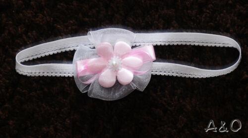 Baby Haarband Weiß Taufe Fest Schleife ab 0 Mon Stirnband Kopfband Photoshooting