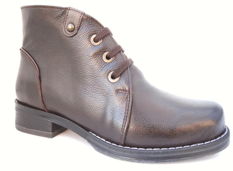 Ancho De Cuero Cuero Cuero Marrón Zapatos Gianna OGS botas de 3E de ancho 80ab52