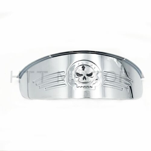 "Skull Chrome 7/"" Headlight Visor Heavy Duty Thick For Harley Softail Slim Fat Boy"